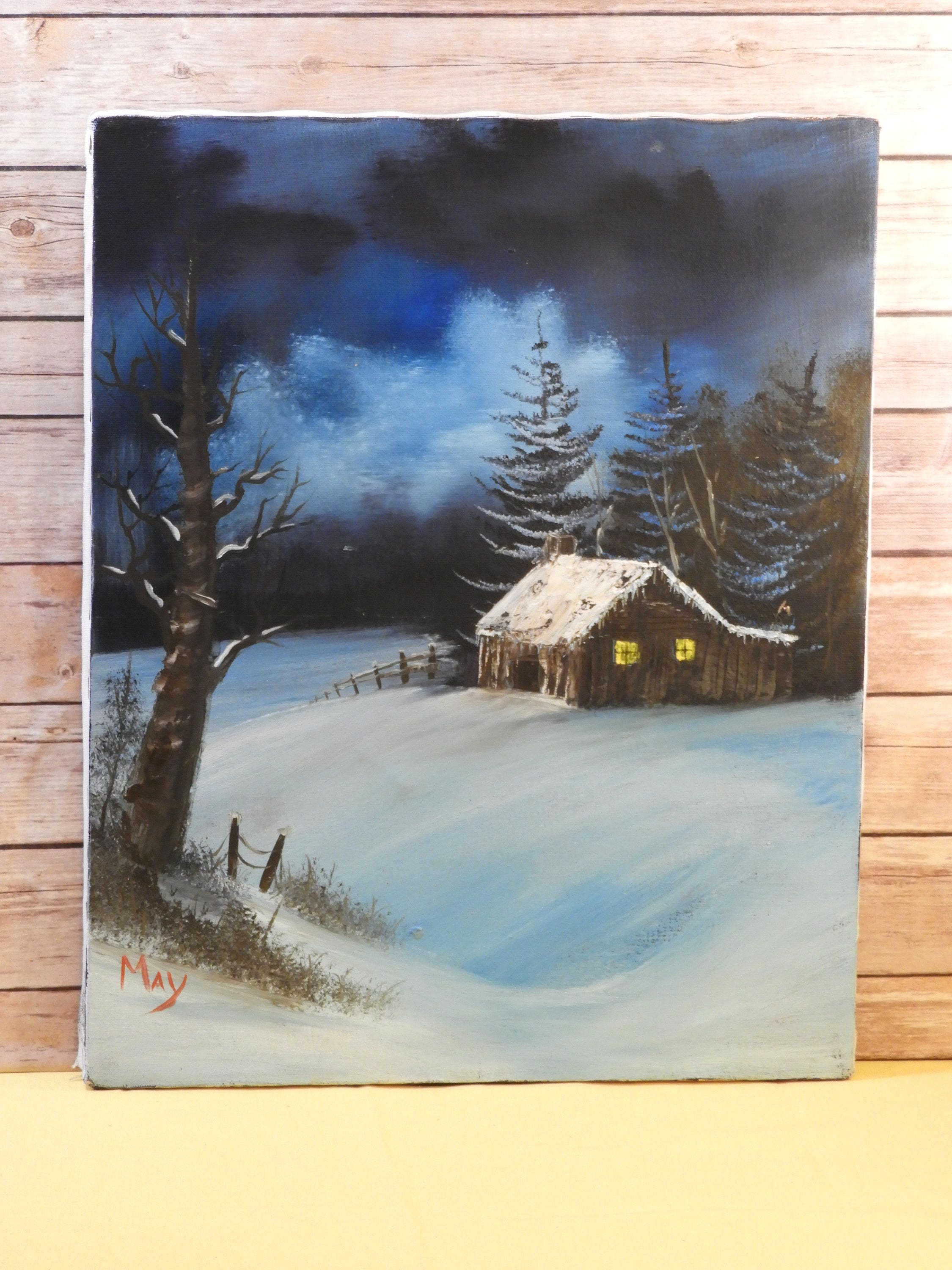 Vintage Winter Night Oil Painting Decorative Blue White Picture On Canvas Signed By MayCabin In ArtMidnight Art