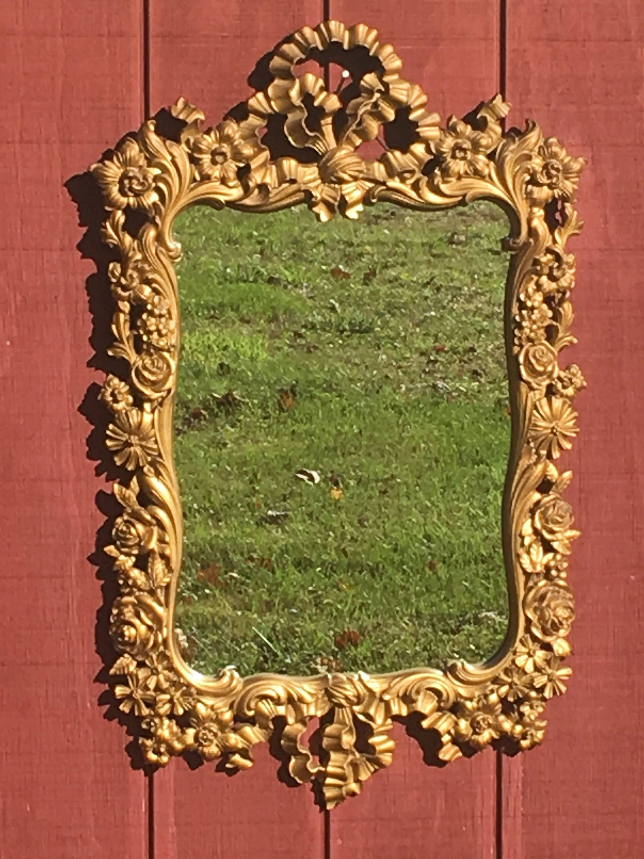 Vintage Rococo Gilt Mirror Decorative Gold Wood Carving