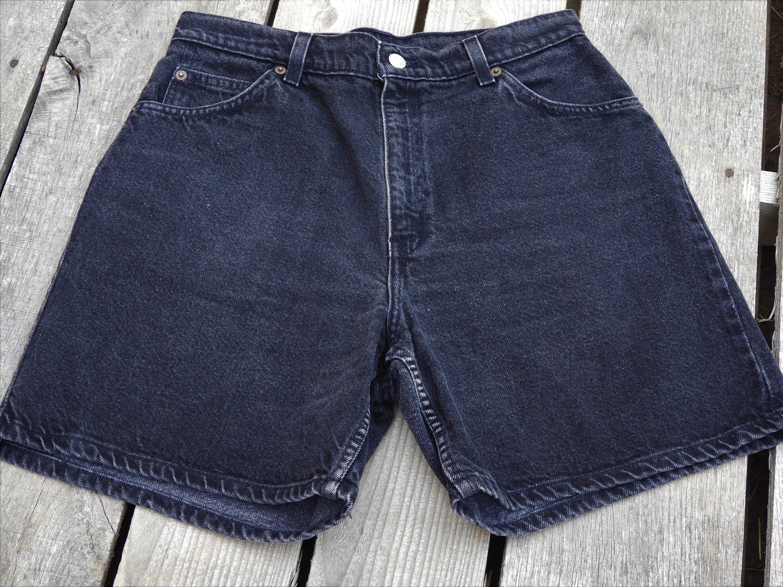 2905c572 Vintage High Waist Mom Shorts, Women's 12 Levi Shorts, Black Levis Orange  Tab, Relaxed Fit Jean Shorts, 1980's High Rise Bermuda Shorts
