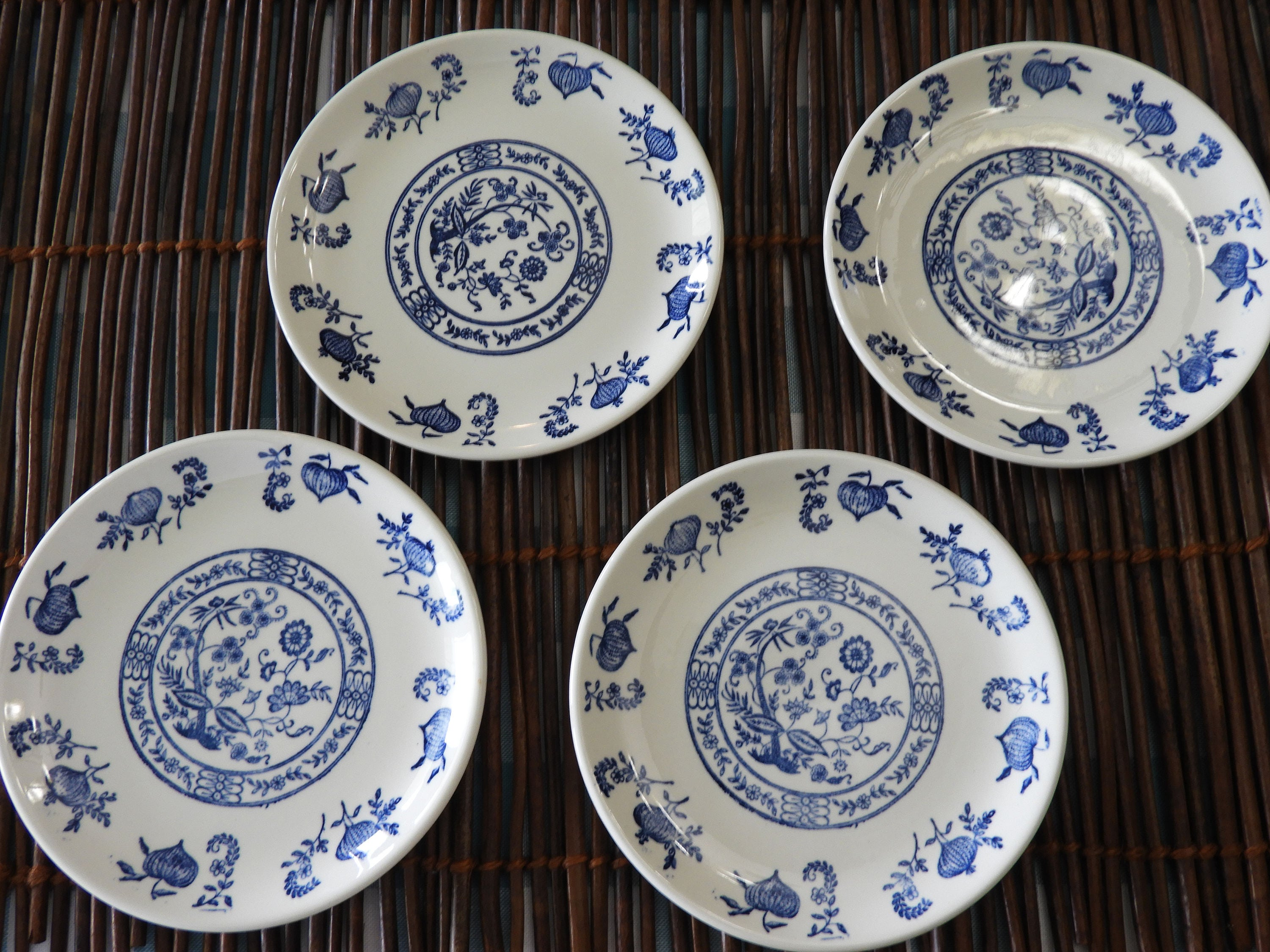 1 & Vintage Blue Onion Tea Tile Saucers (4)Blue Dinnerware Plates ...