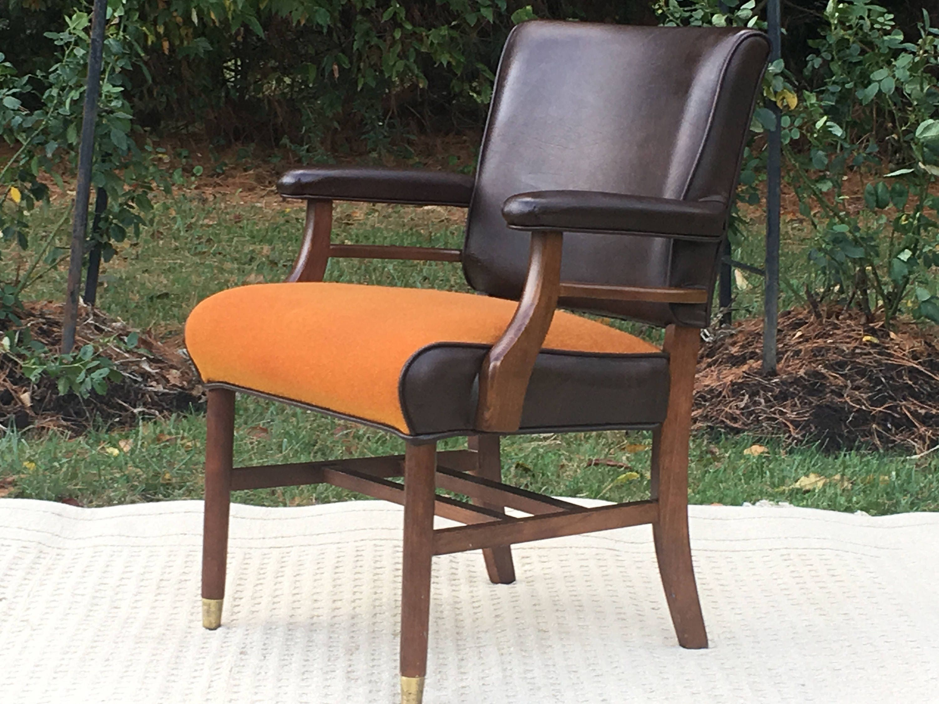 mid century leather tweed chair robert james leather lounge game