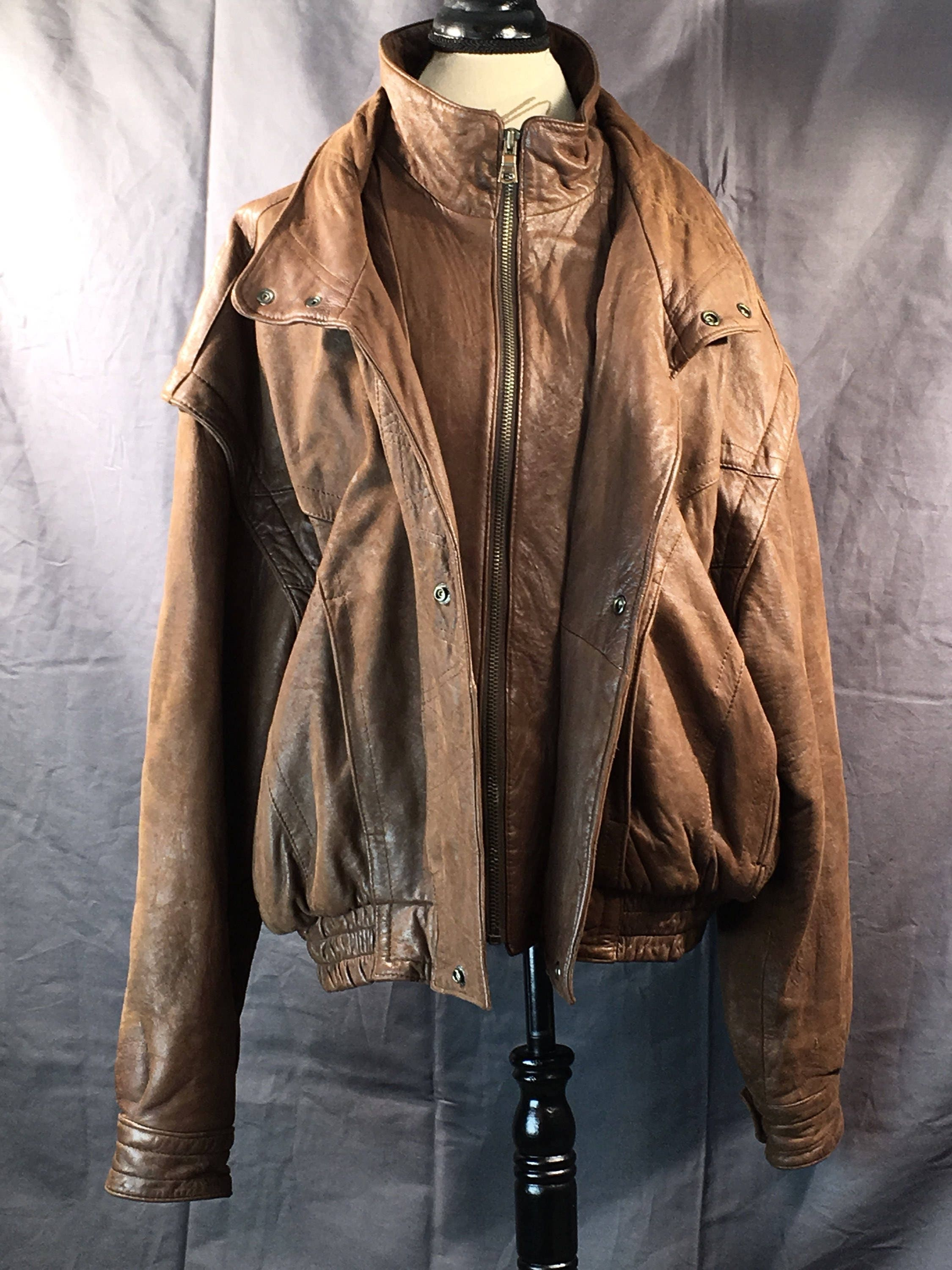 Vintage Men S Leather Jacket Mens Large Brown Jacket