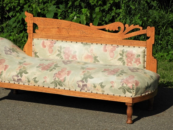 Tremendous Antique Fainting Couch Musical Note Chaise Lounge Carved Oak Furniture Green Gold Grecian Daybed Meridienne Recamier Chair Forskolin Free Trial Chair Design Images Forskolin Free Trialorg