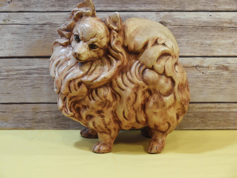 Vintage 1970 Pomeranian Statue Brown Gold Ceramic Dog Figure