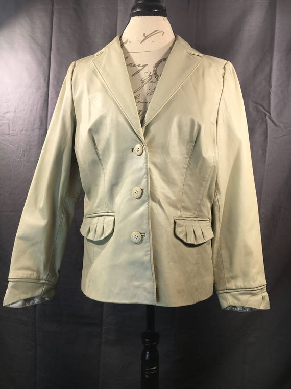 50bab419d Vintage Women's Leather Jacket, Bradley Bayou Size Large 100% Genuine  Leather, Beige White Decorative Coat, Button Down Women's Clothing