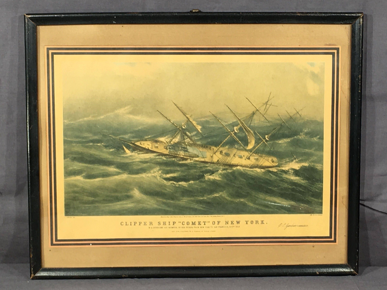 Antique Ocean Lithograph, Currier Clipper Print, Nautical Comet Ship ...