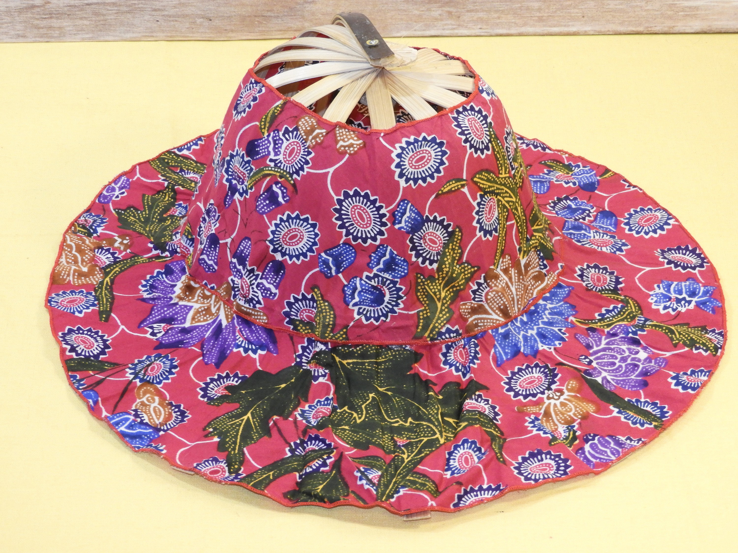 Vintage Folding Fan Hat, Indonesian Sun Hat, Red and Purple