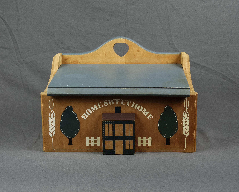 Vintage Bread Box Wooden Storage Home Sweet Home Folk