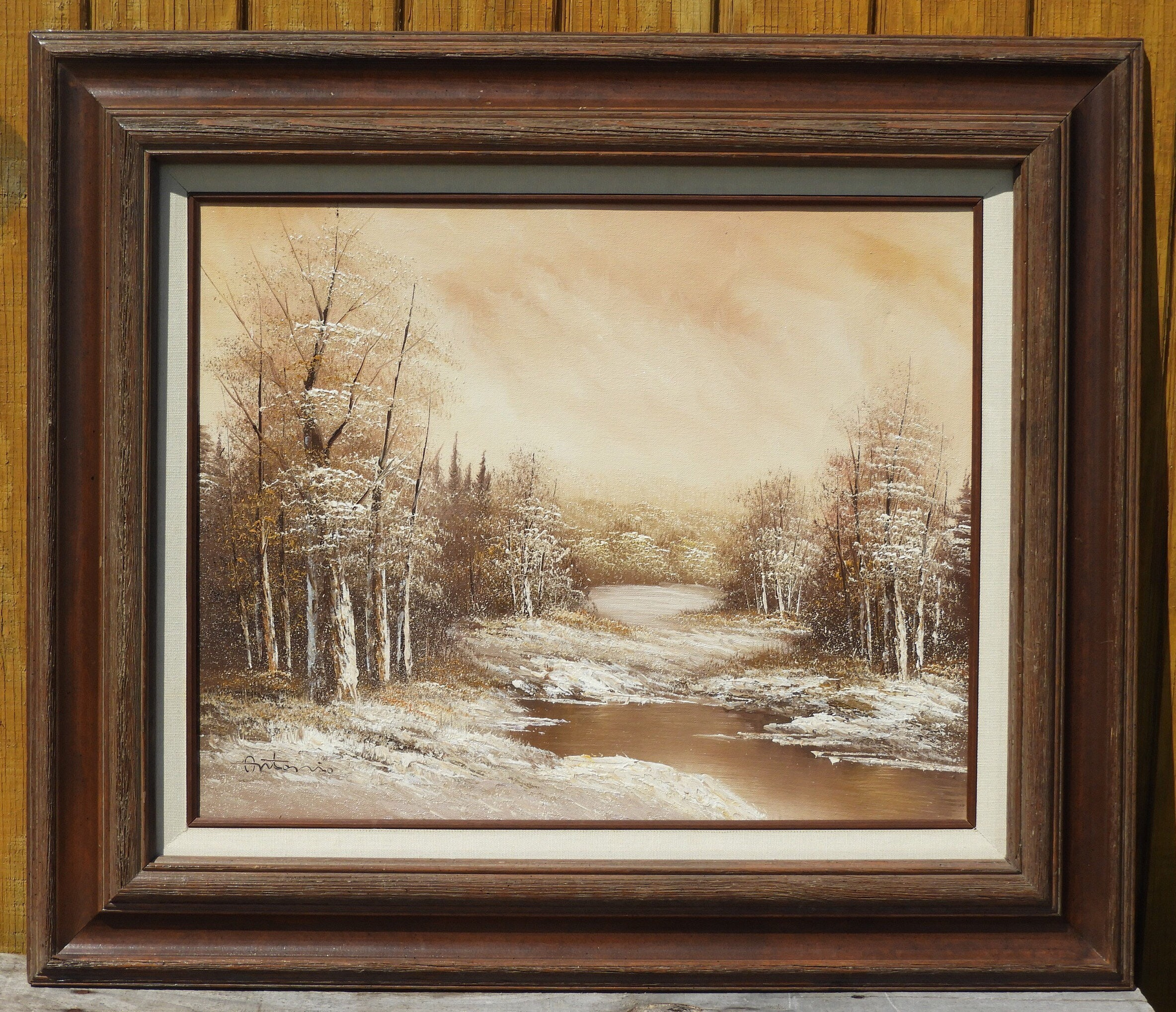 Vintage Winter Snow Painting Antonio Oil On Canvas Art Wooden