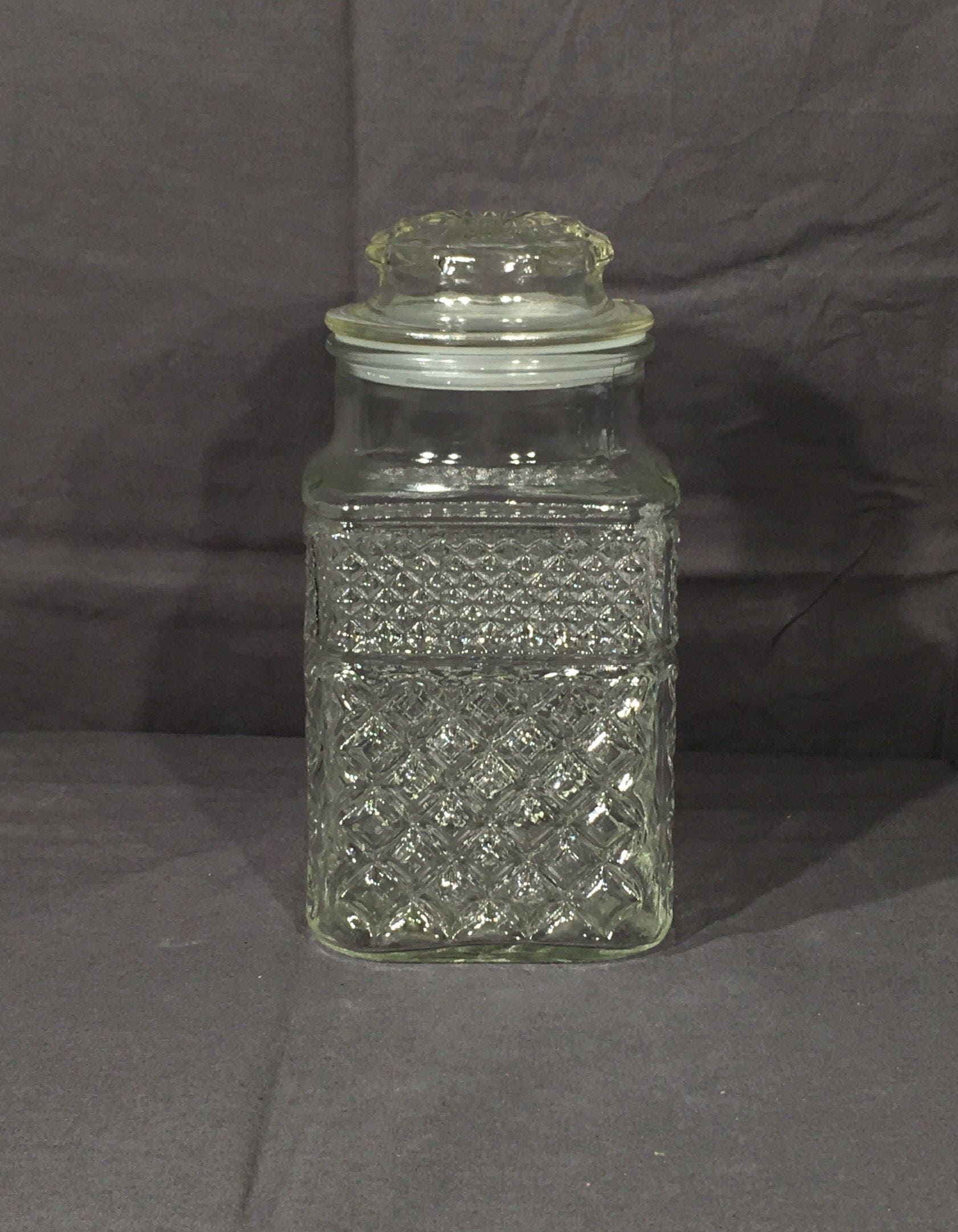 Vintage Kitchen Canister, Glass Cookie Jar, Anchor Hocking, Wexford Diamond  Gingham, Clear Decorative, Apothecary Storage, Candy Decor