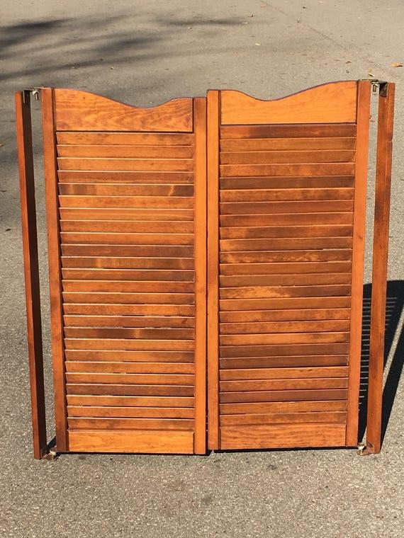 Vintage Swinging Saloon Doors Decorative Brown Shutters Louvered Cafe Doors Solid Wood Kitchen Den Door Man Cave Entryway from VintageDecorAddict on ... & Vintage Swinging Saloon Doors Decorative Brown Shutters Louvered ...