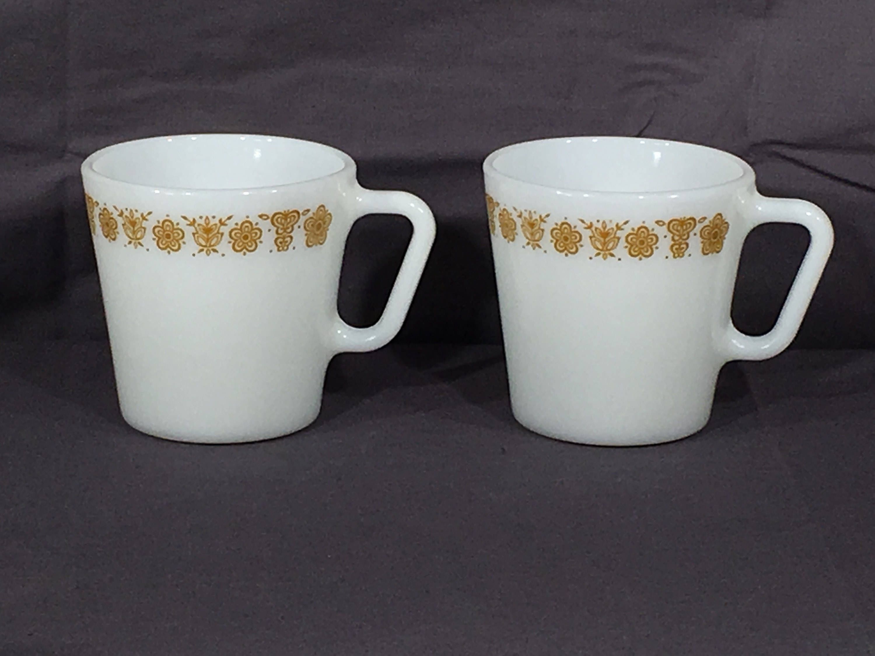 Vintage Butterfly Gold Mugs 2 Pyrex D Handle 1410 Coffee