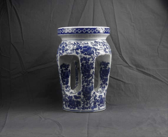 Vintage Chinese Garden Stool Blue, Blue And White Asian Garden Stool