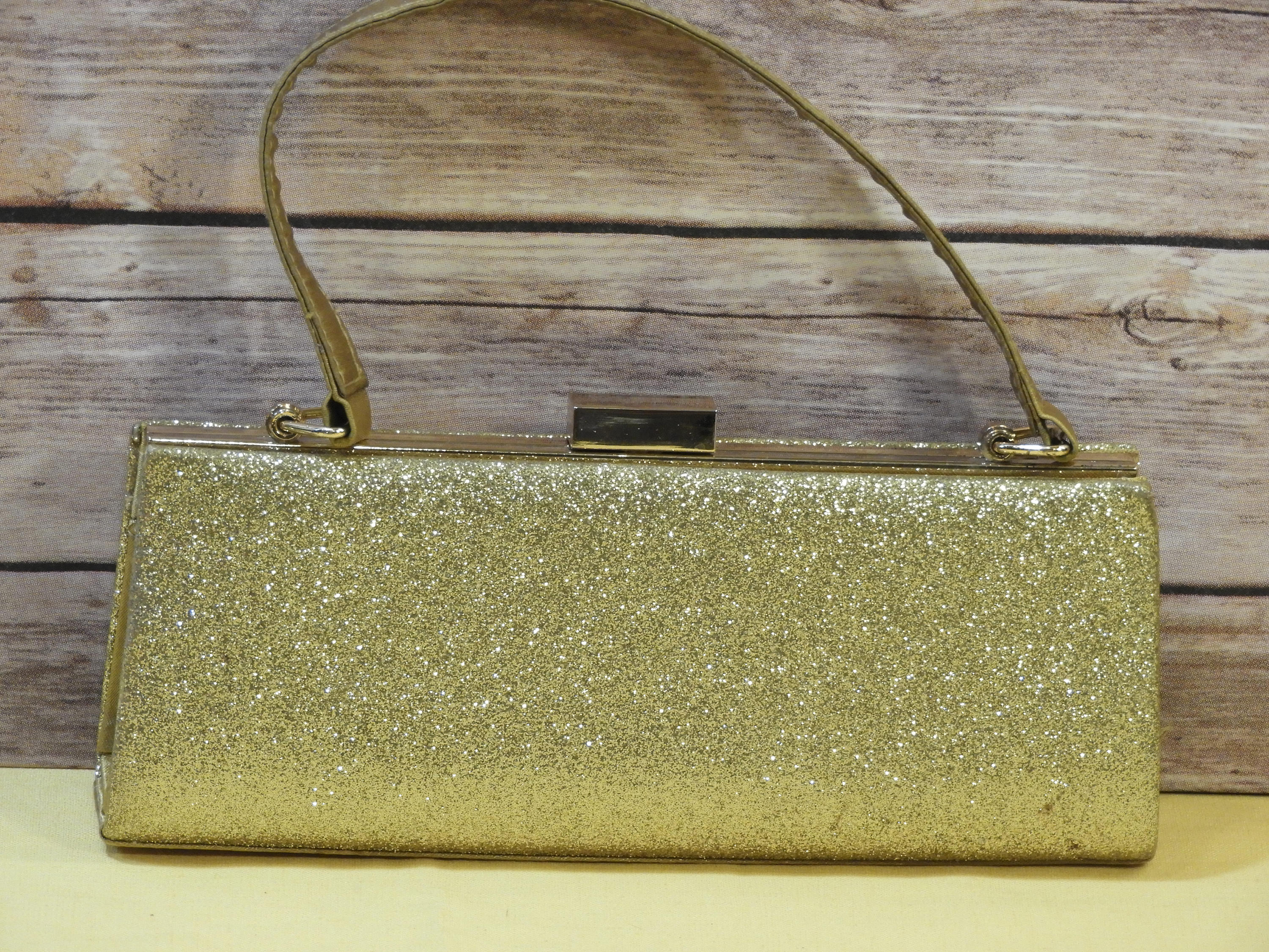 Vintage Sasha Gold Evening Handbag Evening Glitter Clutch Retro