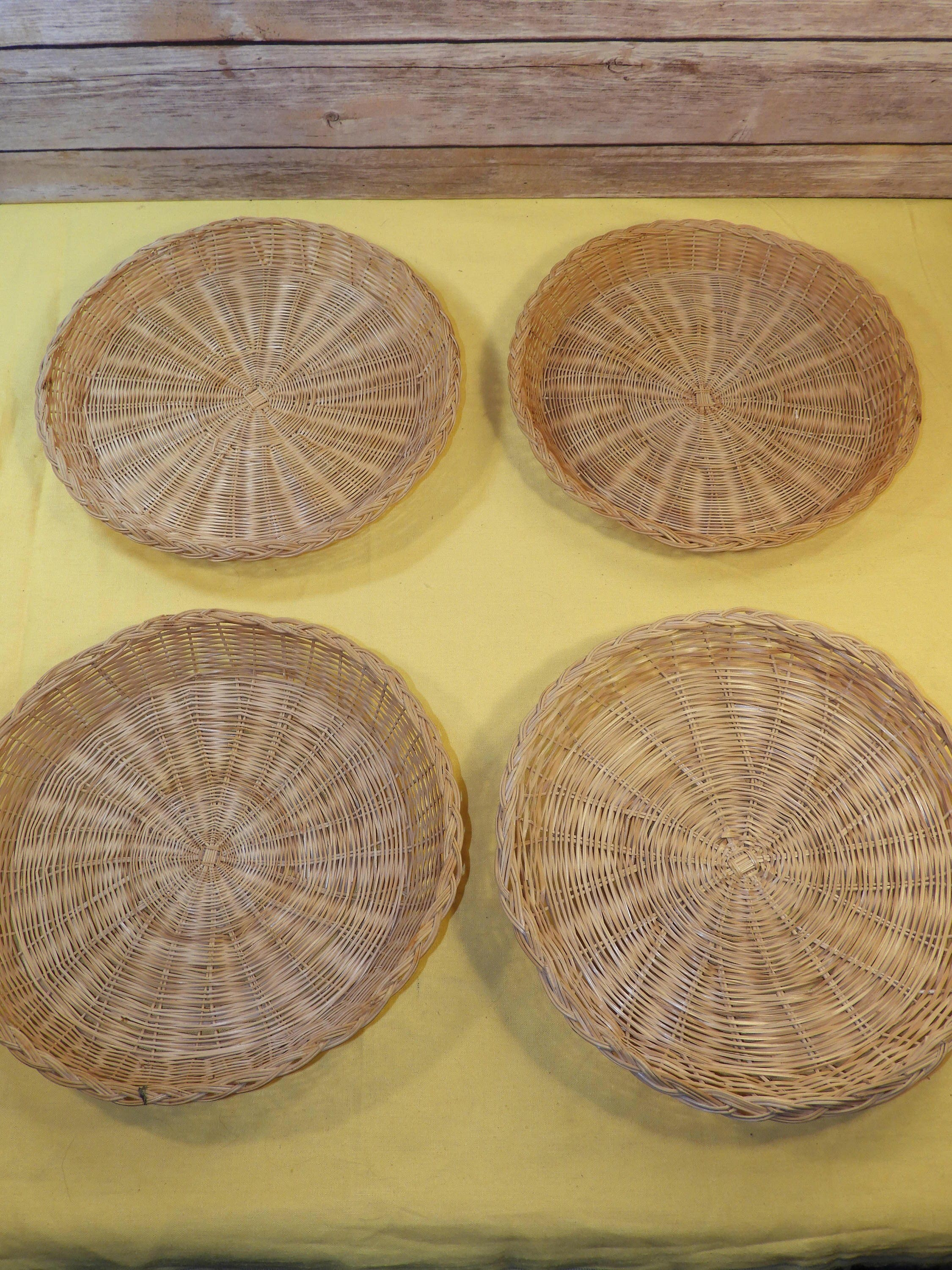 Vintage Rattan Wicker Woven Paper Plate Holders (4), Picnic Plate ...