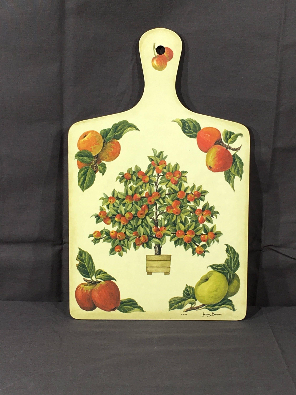Vintage Serving Tray, WL 94 Jenny Barron Apple Decoration, Wood ...