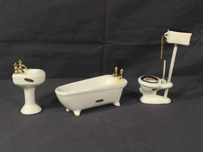 Excellent Vintage Miniature Furniture Sears Roebuck Toilet Tub Sink Download Free Architecture Designs Rallybritishbridgeorg