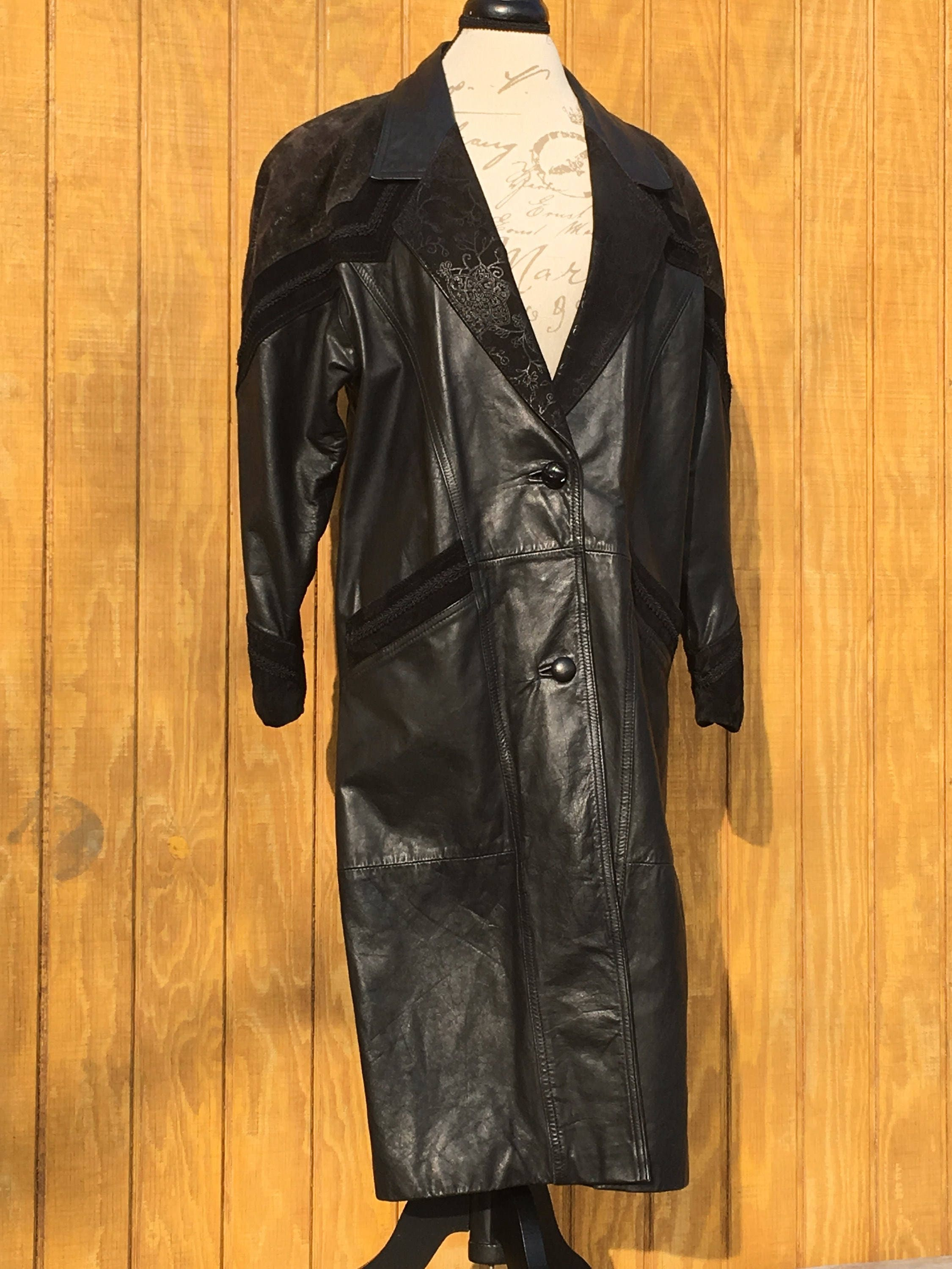 e6773b69daa6 Vintage Leather Trench Coat