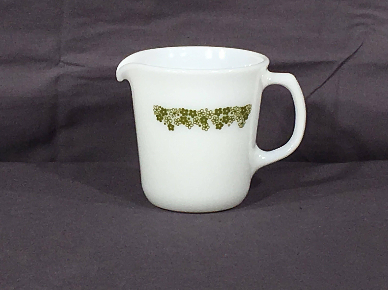 Vintage Pyrex Creamer Crazy Daisy White Green Coffee 1