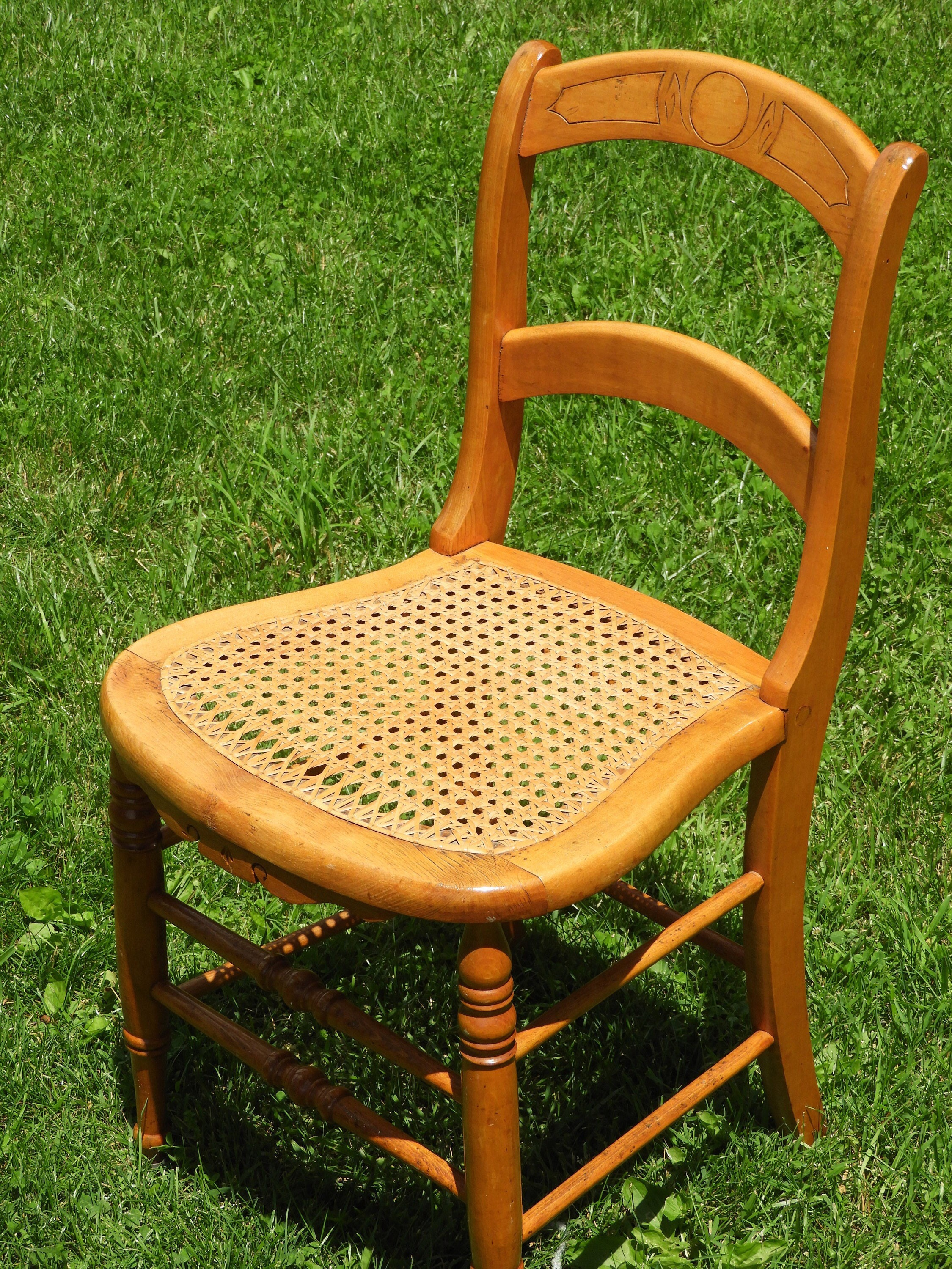 Antique Cane Chair Spindle Accent Chair Ornate Maple