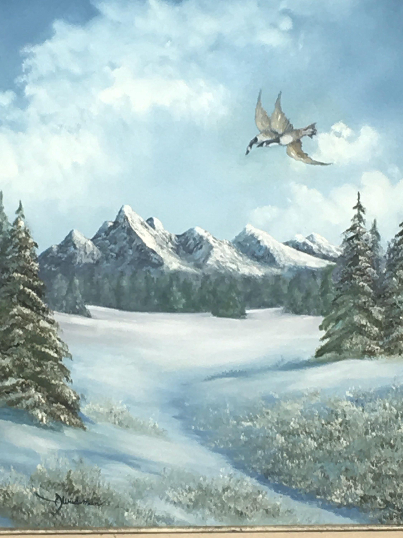 Vintage Weideman Oil Painting, Pine Valley Lake Wildlife ...