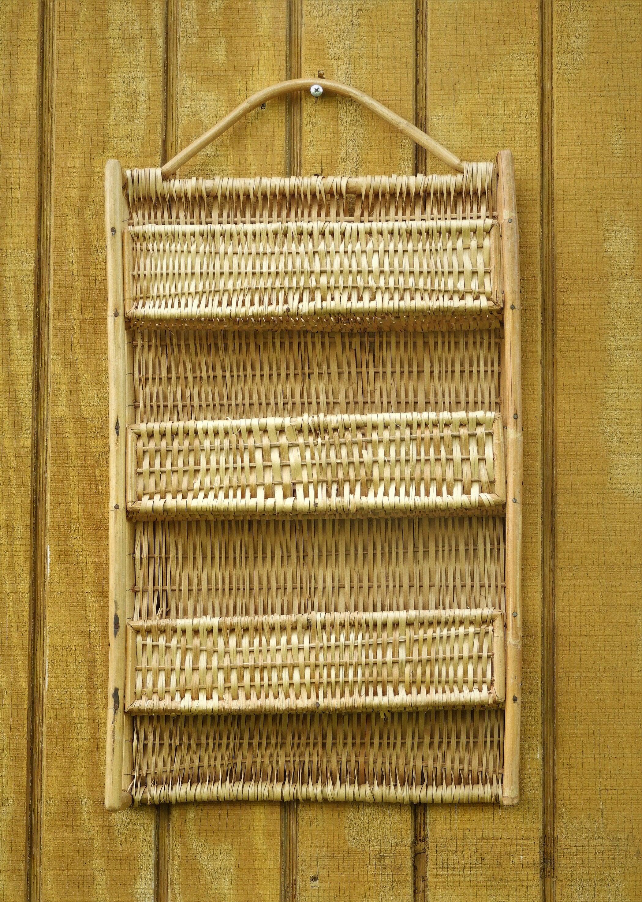 Vintage Rattan Shelf, Gold Brown Woven Wall Decor, Three Tier Wall ...