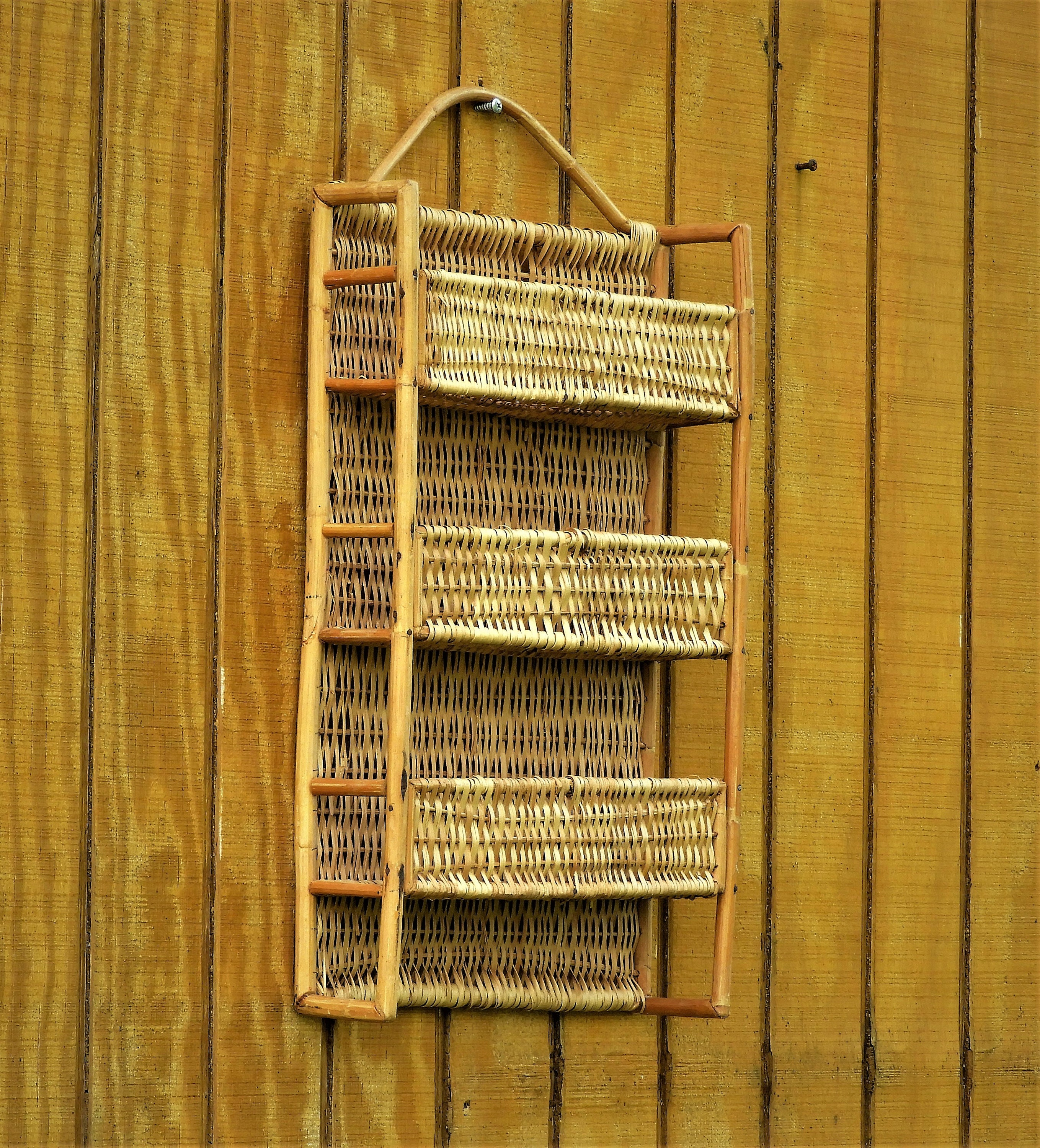 Vintage Rattan Shelf, Gold Brown Woven Wall Decor, Three Tier Wall ...