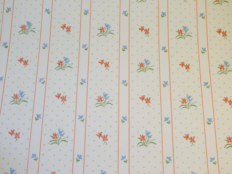 Vintage Striped Wallpaper White Floral Wall Paper Kitchen Decor