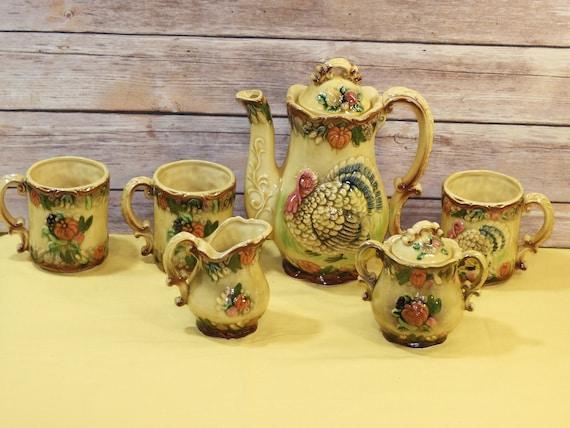Vintage Ceramic Buttons Fall Harvet set of 8
