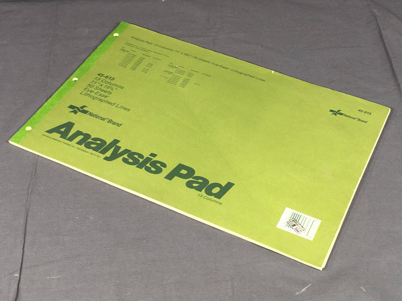vintage analysis pad, national brand 45-613 pad, 13 column green