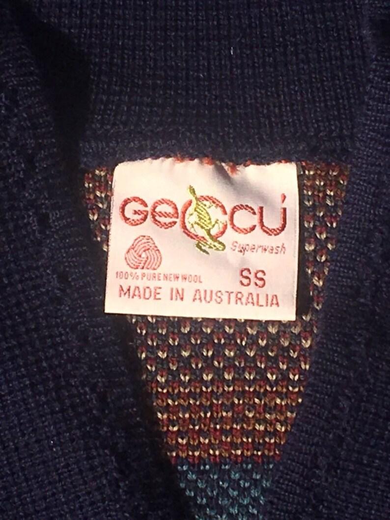Superwash Machine Washable Clothing Vintage Wool Cardigan Geccu Australian Sweater Aussie Fashion Blue Paisley /& Geometrical Shirt