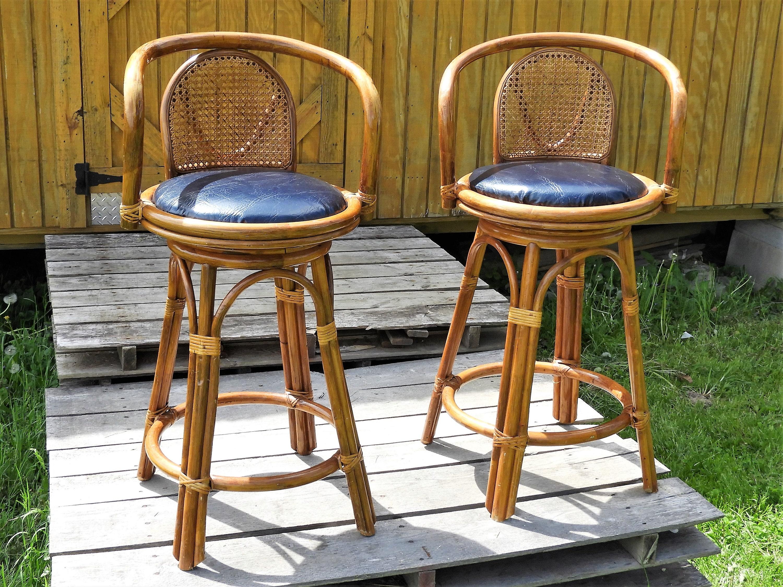 Vintage Kitchen Bar Stools Inspiration Vintage Tiki Cane Bar Stools 12 Wooden Barstools Gold 2643 3