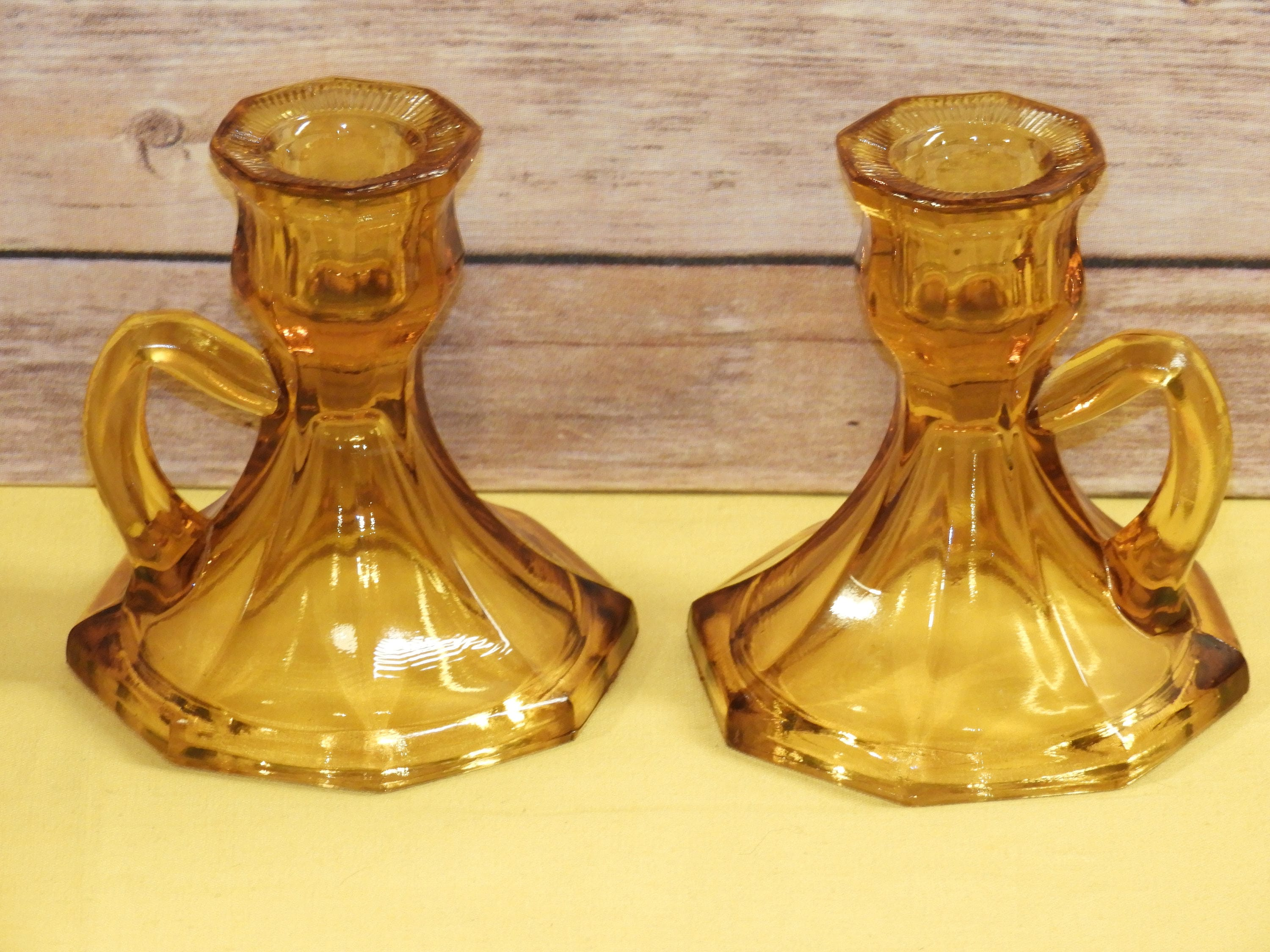 Vintage Amber Glass Chamber Candle Holder, Glass Candle