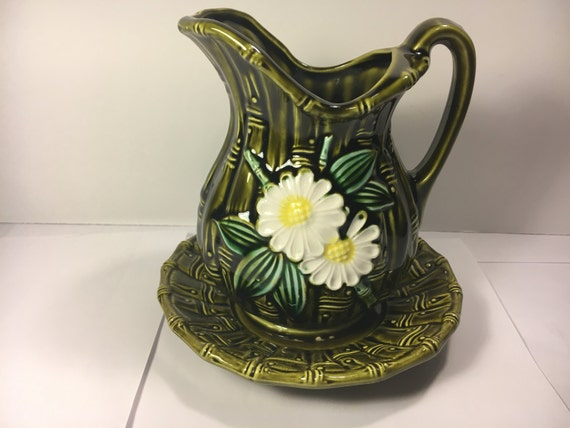 Vintage Water Pitcher Decorative Vase Pitcher Green Ceramic Etsy Awesome Decorative Water Pitcher