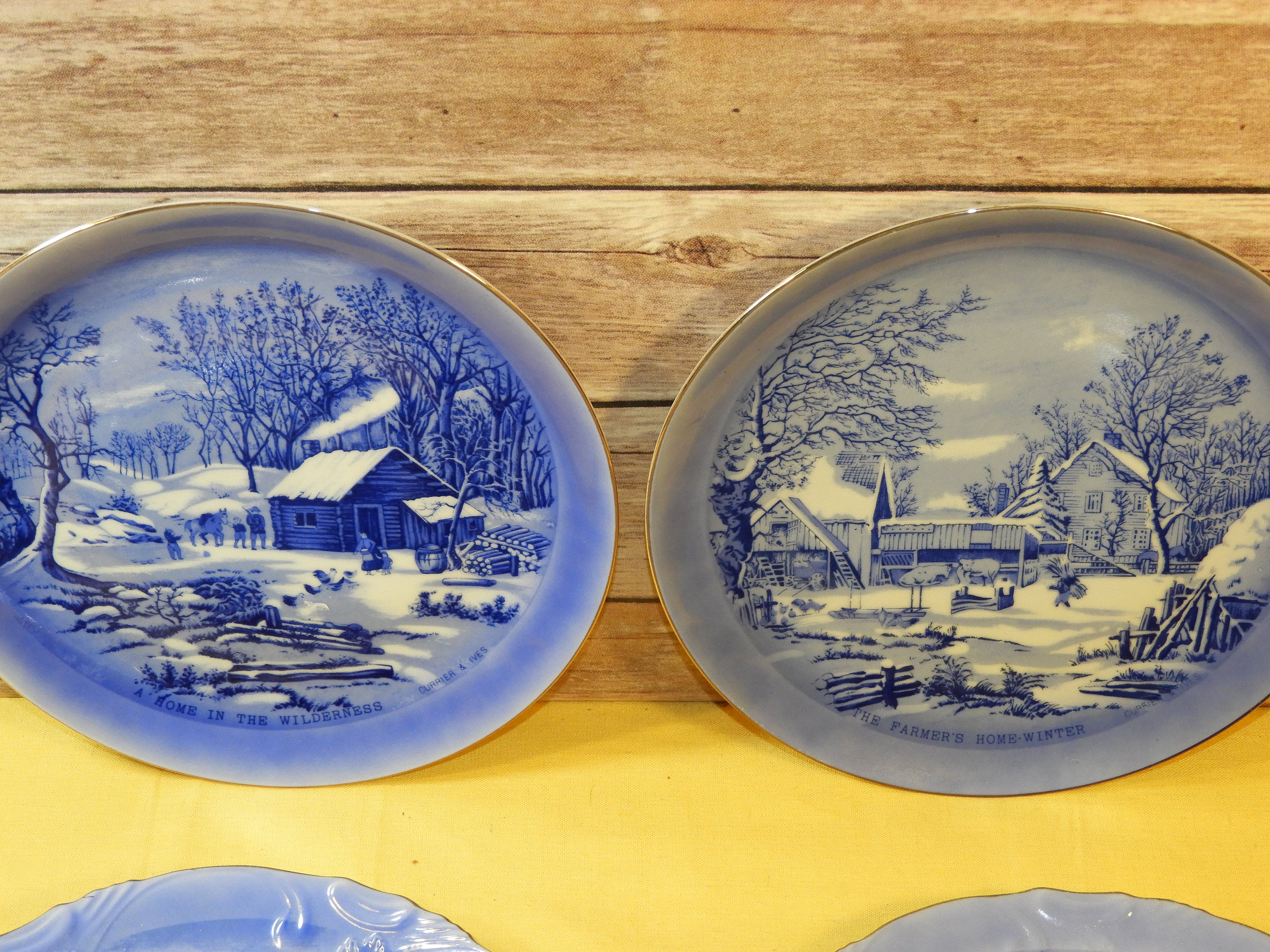 Made in Japan Vintage Currier /& Ives Blue White Collectors Plates Homestead in Winter Home in Wilderness Blue White Decorative Dishes 4