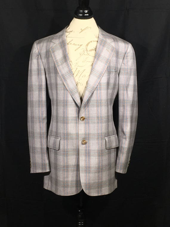 Vintage Plaid Sport Coat, Gray Silver Base Blue Pl