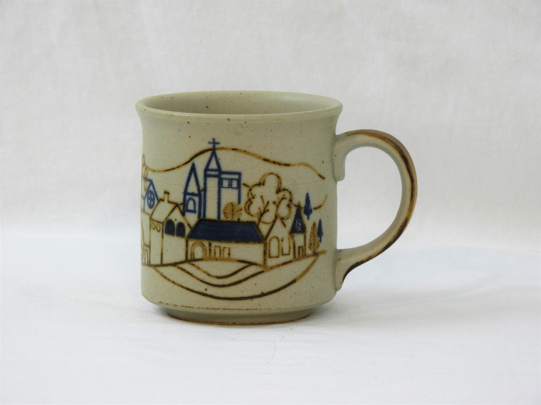 Vintage Stoneware Mug Countryside Relief Winter Theme