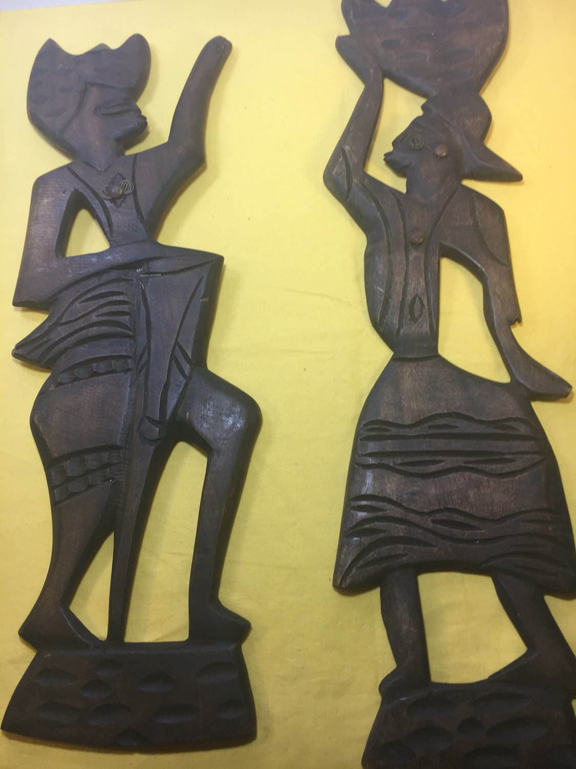 Vintage African Tribal Ethnic Wood Man and Woman, Brown Tribal Wall ...
