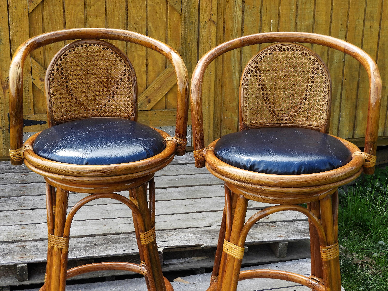 Vintage Tiki Cane Bar Stools 2 Wooden Barstools Gold