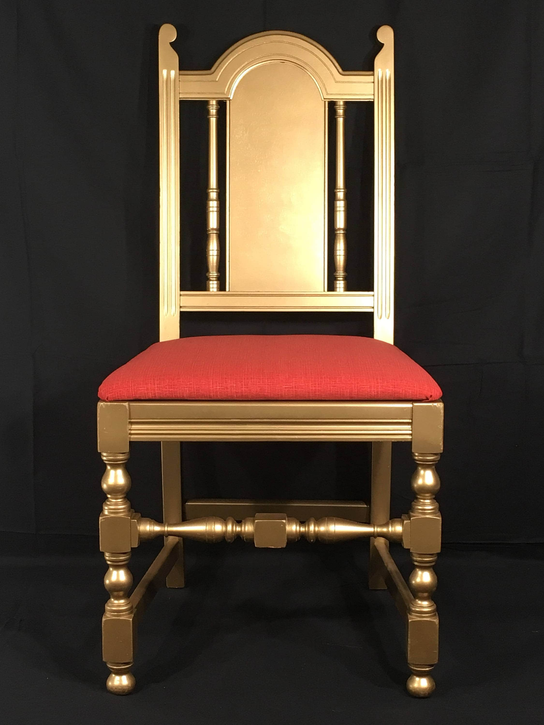 Antique William Amp Mary Chairs 2 Gold And Red Decorative