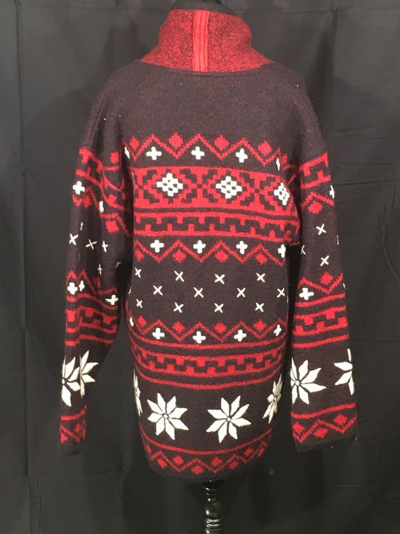 amp; Sweater Cardigan Snow Women's 100 Vintage Christmas Wool Black Jacket Wool Large Clothing Ladies Sz Red Navajo BellePointe Winter qpHyFOFRZg