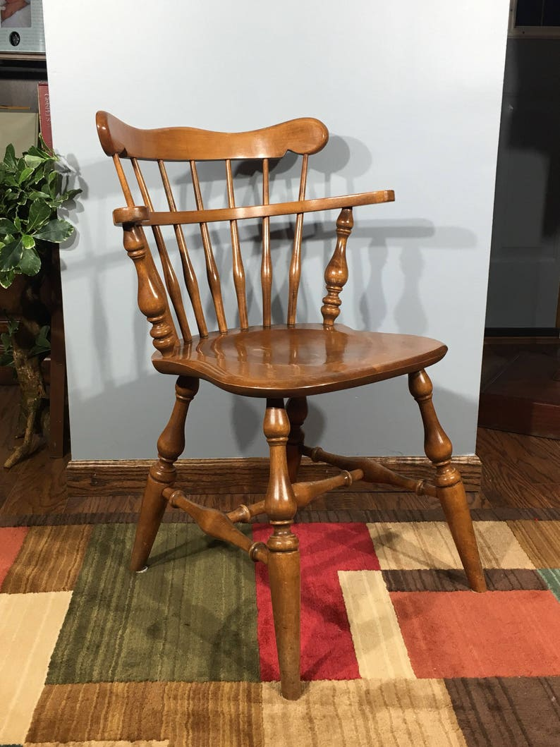 Bon Vintage Ethan Allen Chair, 10 6040 Ethan Allen Side Chair, Decorative Brown  Chair, Old Wood Accent Chair, Windsor Style Wide Back Seat