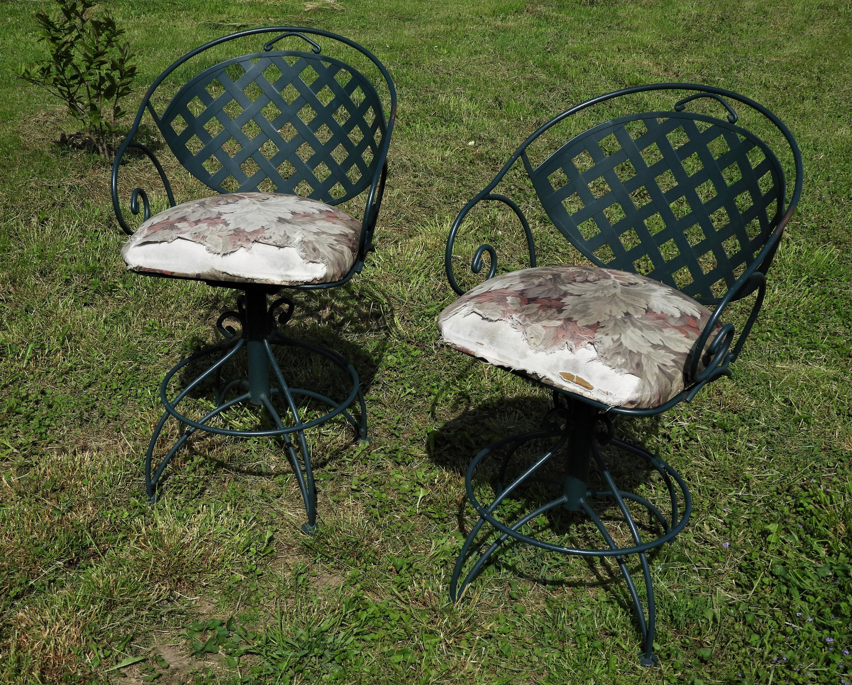 Vintage Meadowcraft Patio Chairs Green Steel Bar Stools