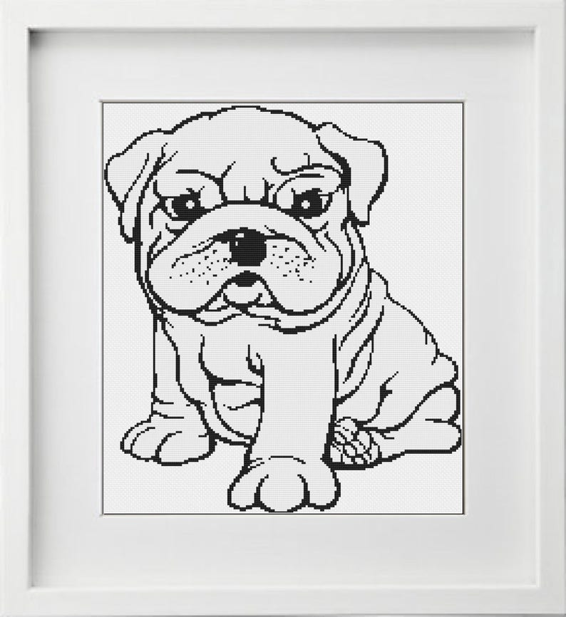 cross stitch pattern baby bulldog, Buy One Get One Free (BOGO), instant  download, PDF charts, REF 100/baby bulldog
