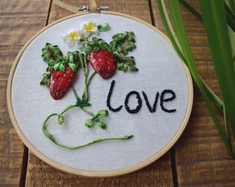Hand embroidery hoop strawberry love Modern embroidery wall art Colorful silk ribbons embroidery strawberry  Gift gardener strawberry art