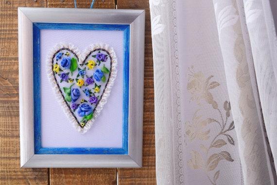 textile heart wall decor blue cafe decor love heart colors