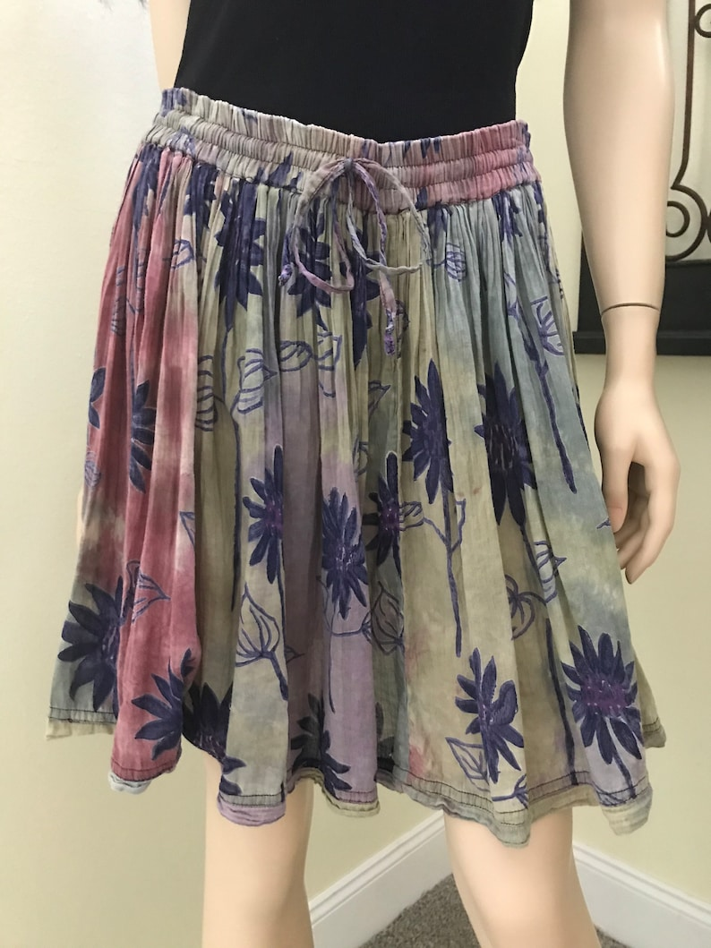 Vintage India Tie Dye Thin Cotton Gauze Skirt by Venus Love~Hand Painted Batik Florals~1970s Gypsy Indian Hippie Festival Clothing~One Size