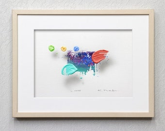 """Original Abstract Painting """"Layer 18105"""" by Kenji Hoshi,9.8x12.6inches(25x32cm),Acrylic on Paper,Brush Stroke 3d-Painting,Frame not included"""