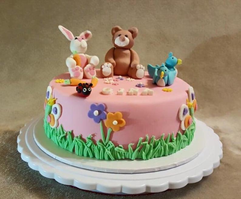 3D Bunny Teddy Bear Cake Topper Birthday