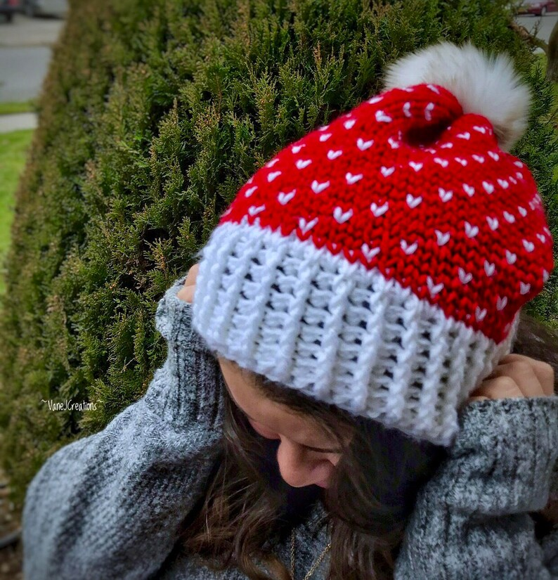 handmade hat winter hat ladies hat red and white hat Fair isle crochet hat Christmas hat handmade gifts
